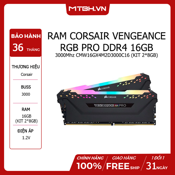 RAM DDR4 16GB CORSAIR VENGEANCE RGB PRO 3000Mhz CMW16GX4M2D3000C16 (KIT 2*8GB)