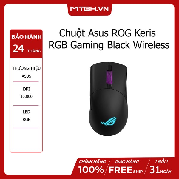 Chuột Asus ROG Keris RGB Gaming Black Wireless
