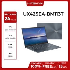 LAPTOP ASUS ZENBOOK UX425EA-BM113T I7-1165G7 | 16GB | 512GB | Intel Iris Xe Graphics | 14'' FHD | Win 10