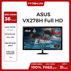 MÀN HÌNH ASUS VX278H FHD 1Ms, Flicker Free, LOW BLUE LIGHT