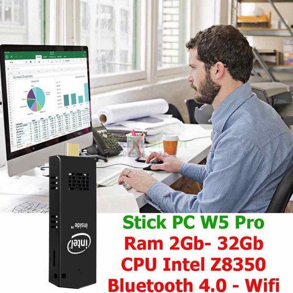Mini PC dạng stick pc W5 Pro Intel Z8350 bluetooth 4.0, wifi