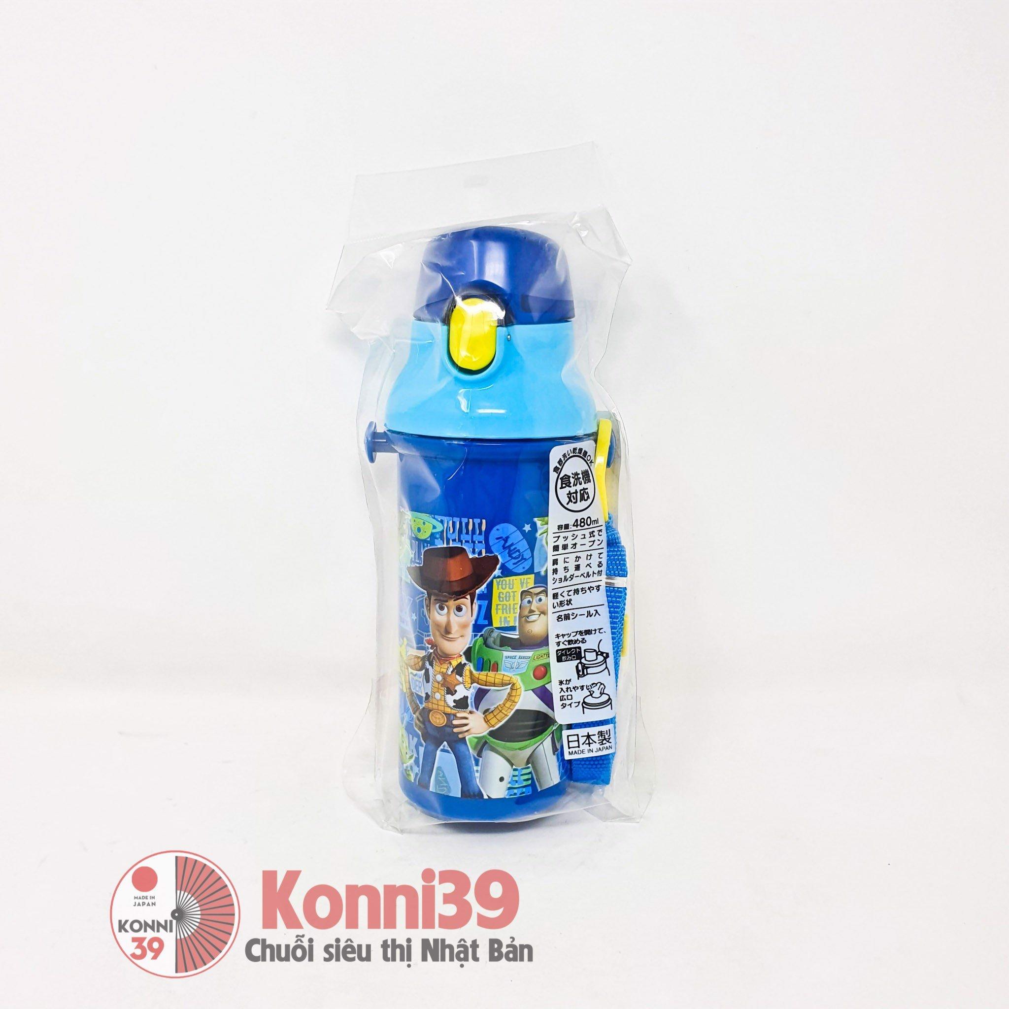 Bình đựng nước có nút bấm cho trẻ Skater 480ml (hình Disney Toy Story)