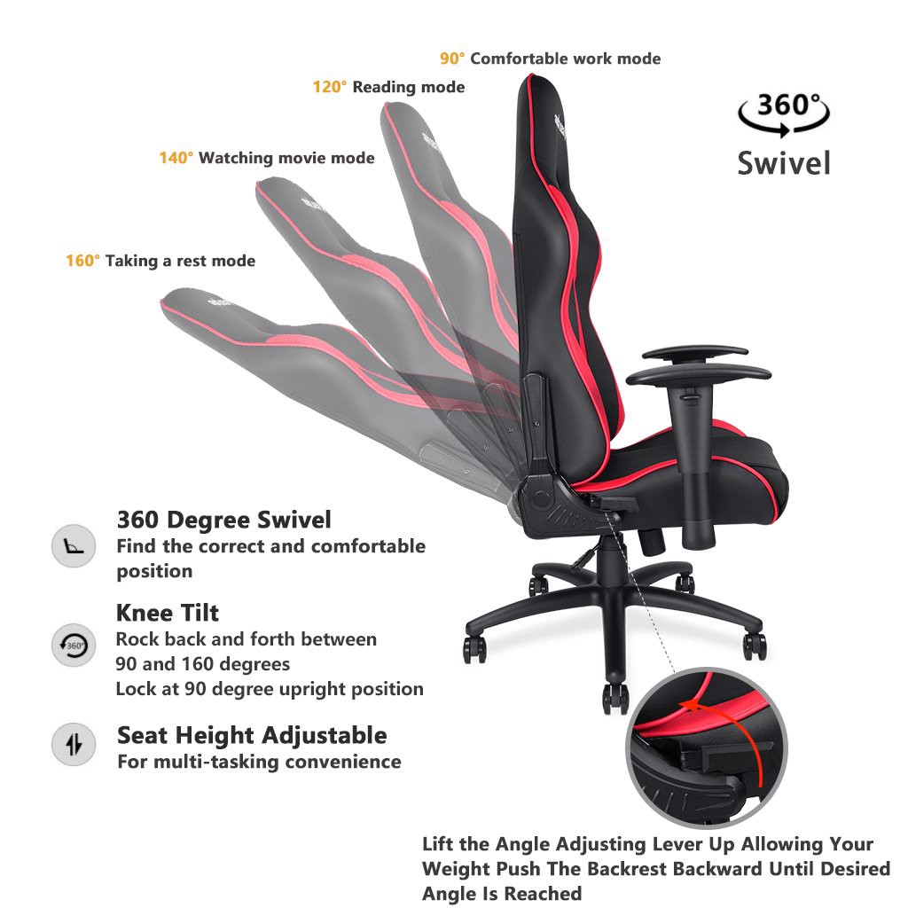 Ghế  Anda Seat Axe Black/Red - Full PVC Leather 4D Armrest Gaming Chair