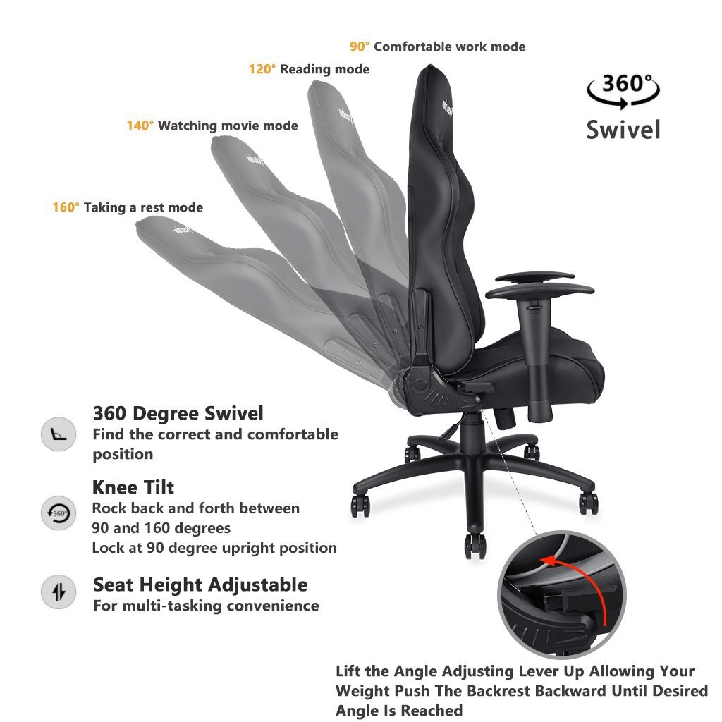 Ghế Anda Seat Axe Black - Full PVC Leather 4D Armrest Gaming Chair