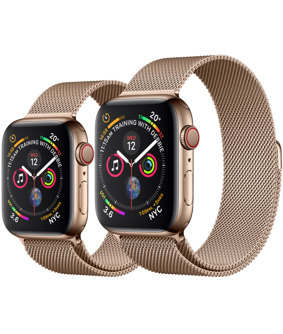 Apple Watch Series 4 GPS+Cellular Gold Stainless Steel Case with Gold Milanese Loop