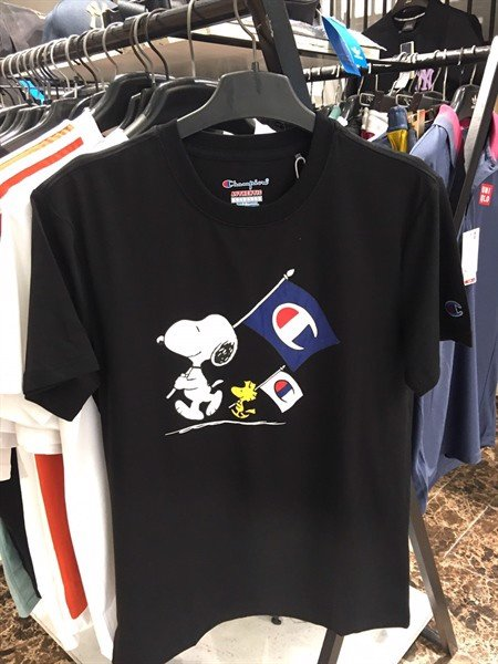 Sample Todd Snyder Champion Peanuts Snoopy Woodstock Flag Tee - Black LL0303.02
