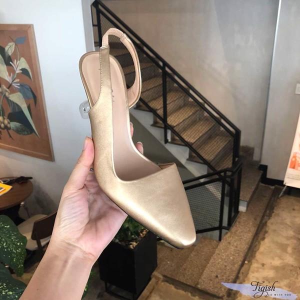 Giày cao gót mika cổ vuông khuyết eo xinh xắn giá sỉ Tigish