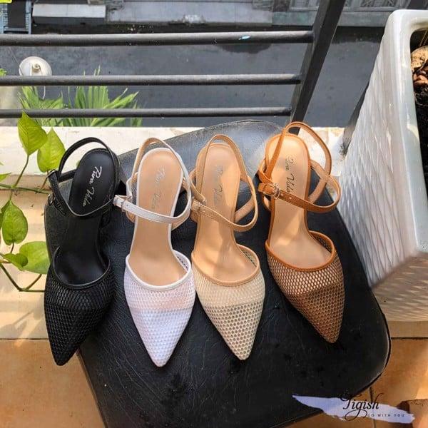 Giày cao gót 5p mũi nhọn phối lưới mới