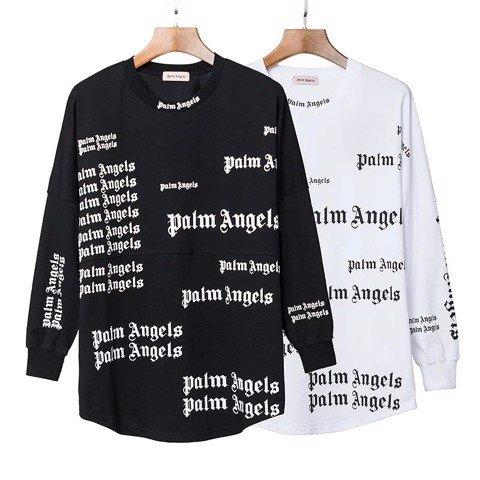 PALM ANGELS FULL LOGO LONG SLEEVES BLACK/WHITE