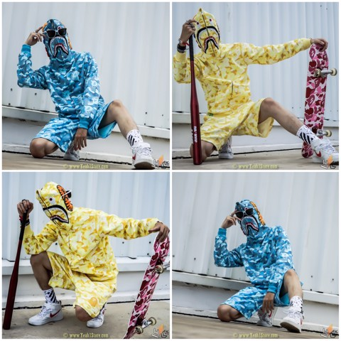 BAPE® MOBKEY CAMO SHARK BLUE/YELLOW FULL SET
