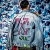 OFF WHITE SLIM BLEACHED DENIM JACKET INDIGO/MUTICOLOR