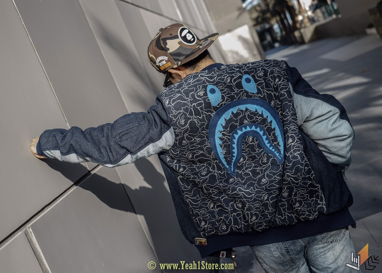 BAPE - SHARK BOMBER JACKET BLUE