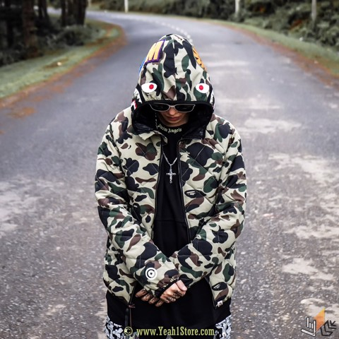 BAPE® WIND STOPPER 1ST CAMK GREEN SHARK DOWN JACKET