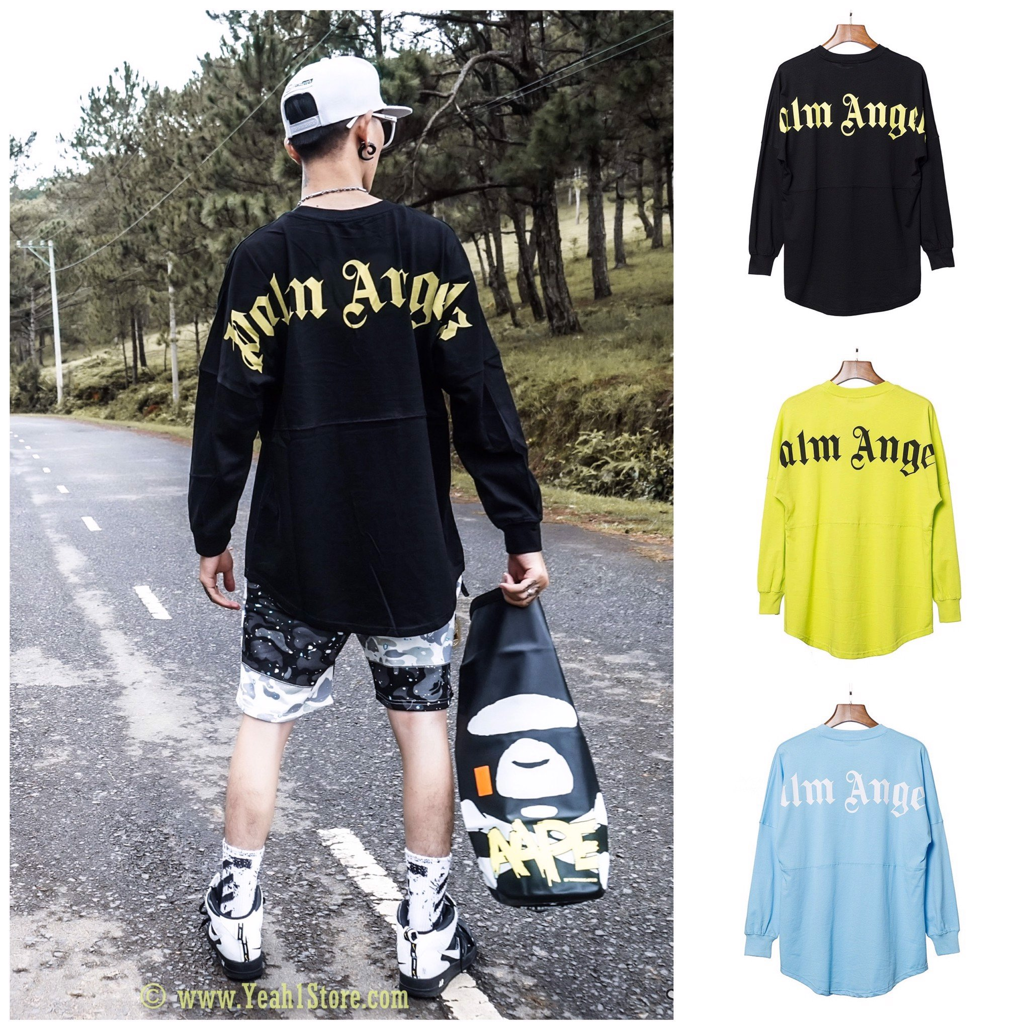 PALM ANGELS LONG SLEEVE TEE FULL COLOR
