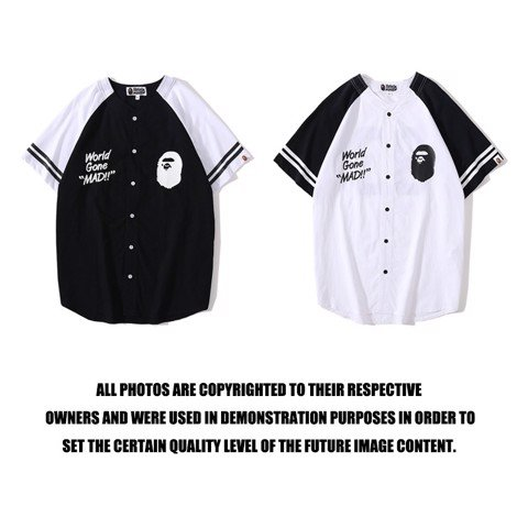 "BAPE® WORLD GONE ""MAD!!"" BASEBALL SHIRT"