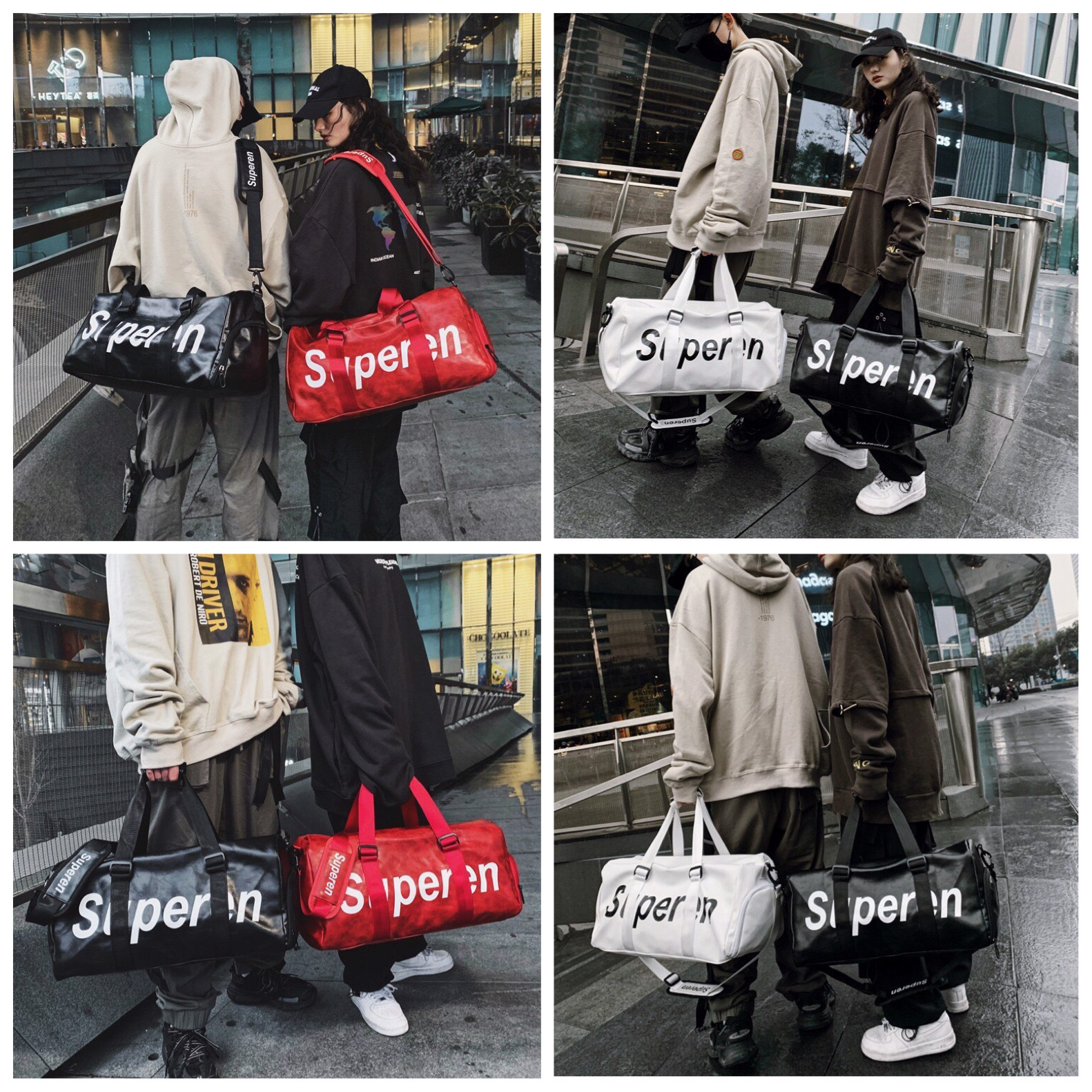 DUFFLE GYM/TRAVEL BAG : BLACK/WHITE/RED