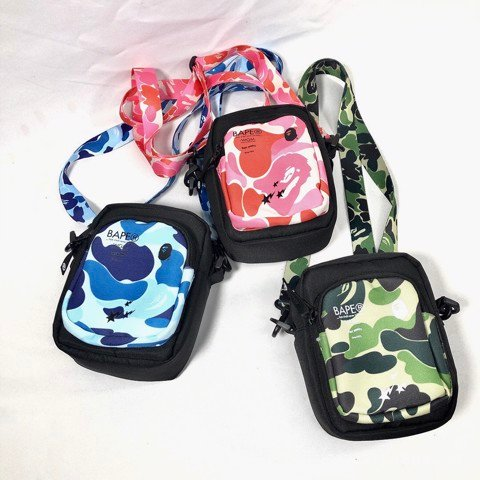 BAPE® ABC CAMERA POUCH BLACK - PINK/BLUE/GREEN