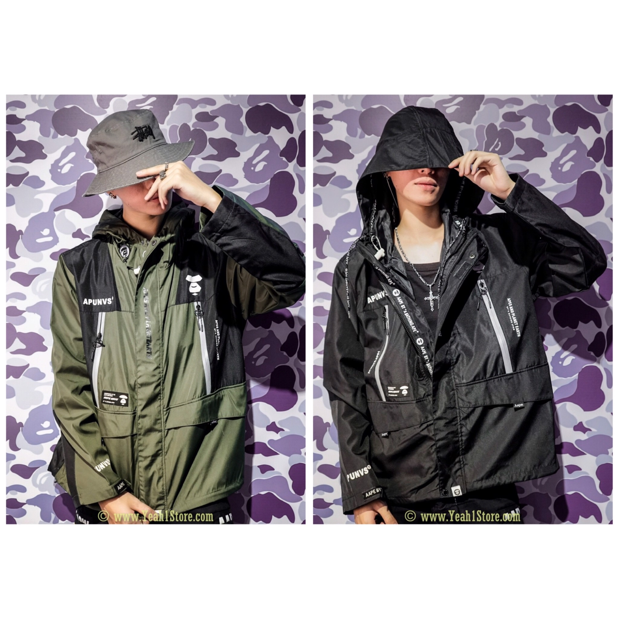 AAPE® APUNVS JACKET- BLACK/GREEN