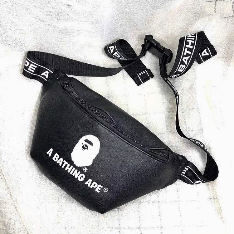 BAPE® BLACK PU LEATHER WAIST BAG