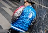 A BATHING APE - BLUE AND GREEN STUFFED BASEBALL SILK JACKET