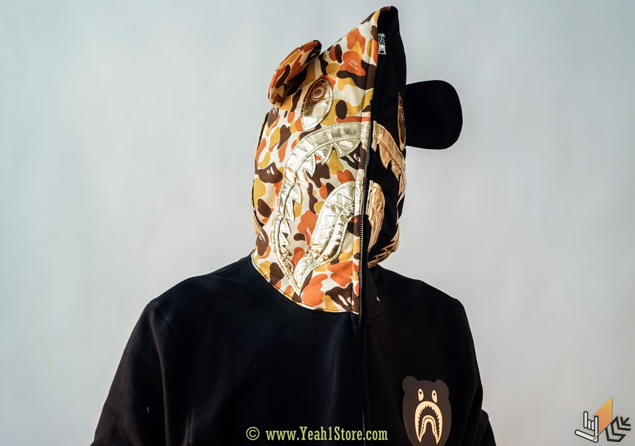 BAPE® x Medicom Gold Shark Bear Hoodie Full Zip
