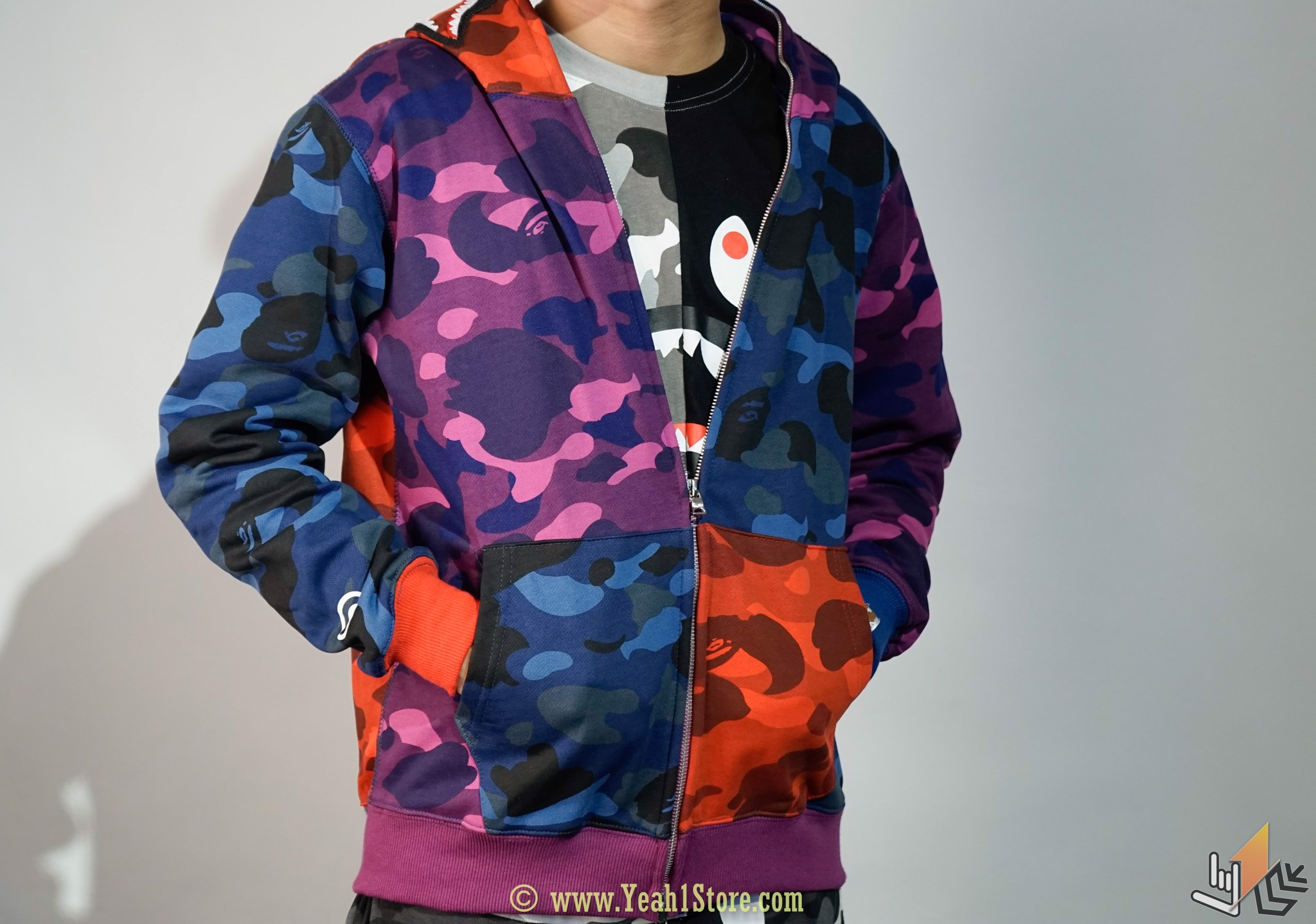 Jacket Bape Mix Camo Shark Zip