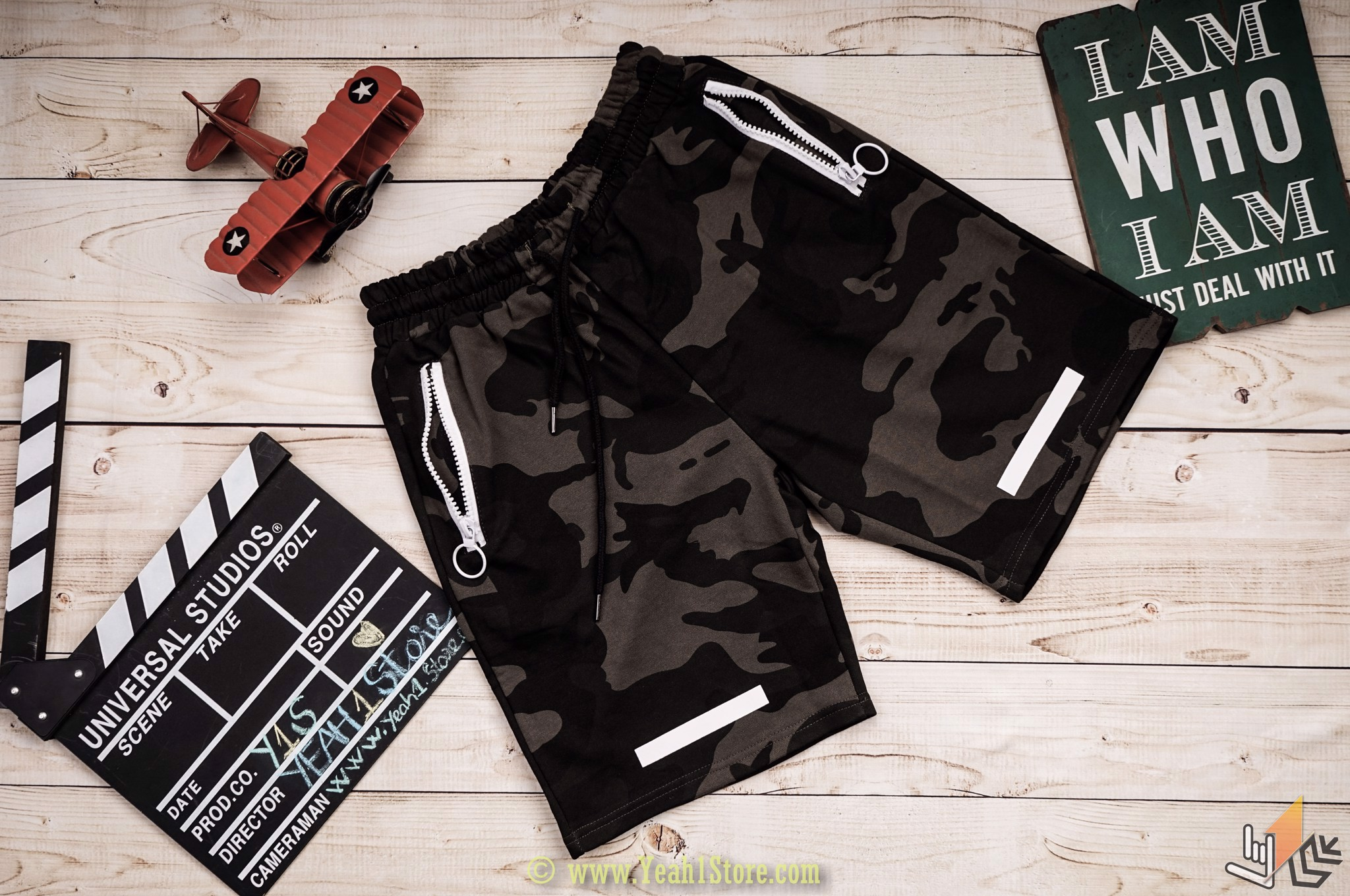 Camo Off White Shorts