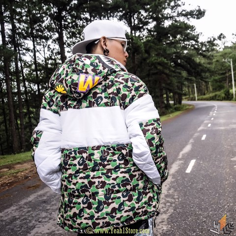 BAPE® X ADD ABC CAMO FIREBIRD SHARK PUFFER JACKET GREEN