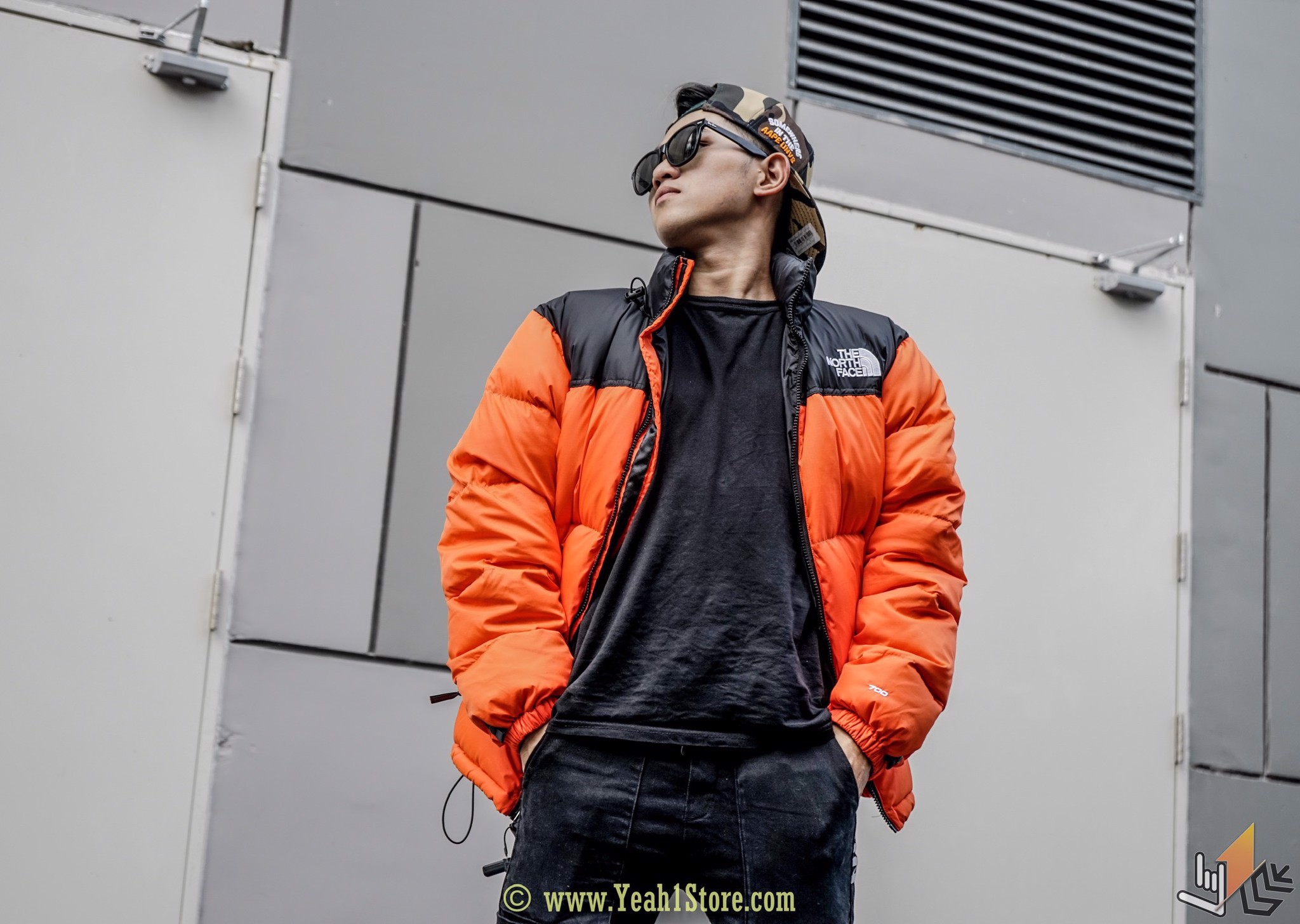 SUPREME THE NORTH FACE LEATHER NUPTSE JACKET ORANGE