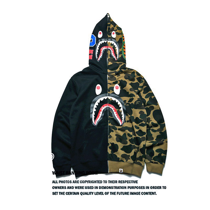 BAPE TWO TONE TIGER SHARK CAMOUFLAGE BLACK GREEN FULLZIP JACKET