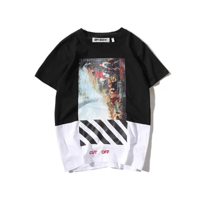 OFF-WHITE TOPS TEE SHIRT RELIGIOUS OIL PRINTING LOOSE COUPLE TEES