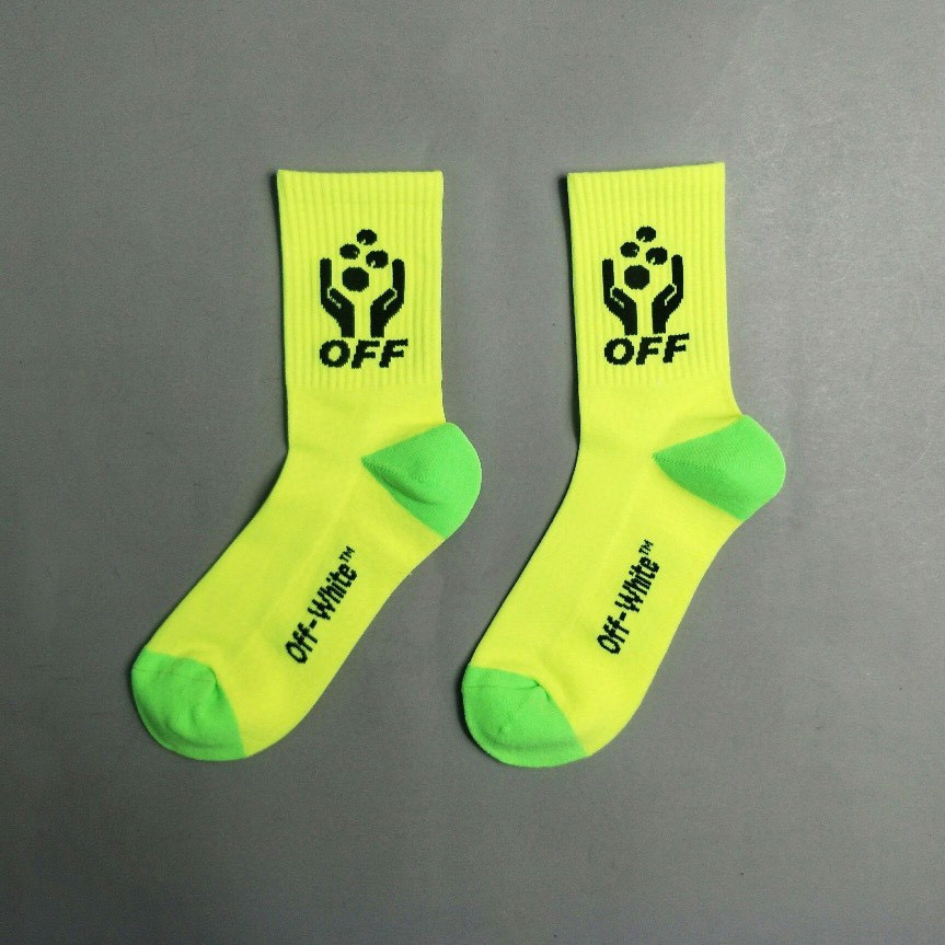 OFF-WHITE LOGO-INTARSIA STRETCH-KNIT  SOCKS