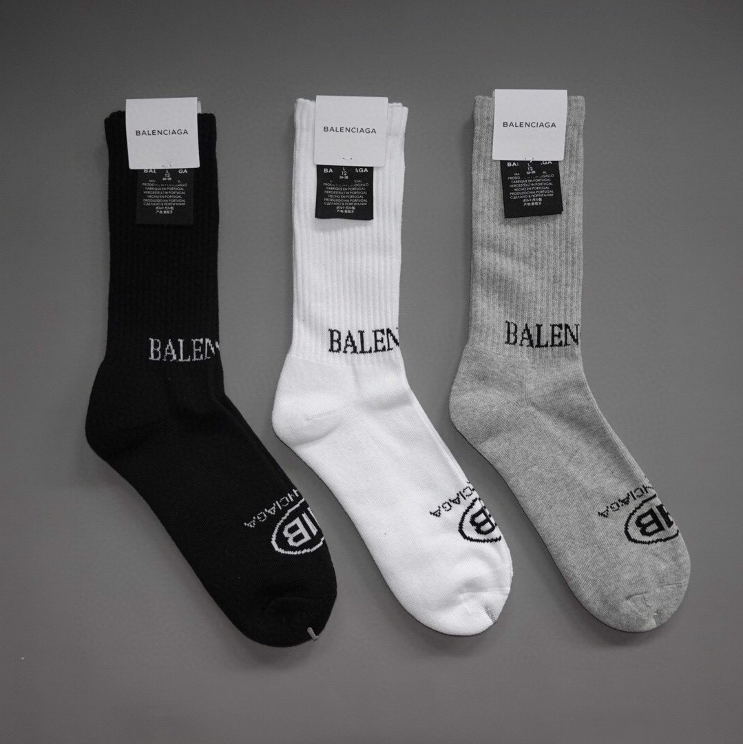 B A L E N C I A G A SOCKS GREY/BLACK/WHITE