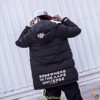 AAPE UNIVERSE WHITE LETTERS BLACK COTTON COAT