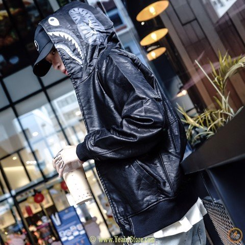 Bape® Leather Shark Hoodie Jacket Black