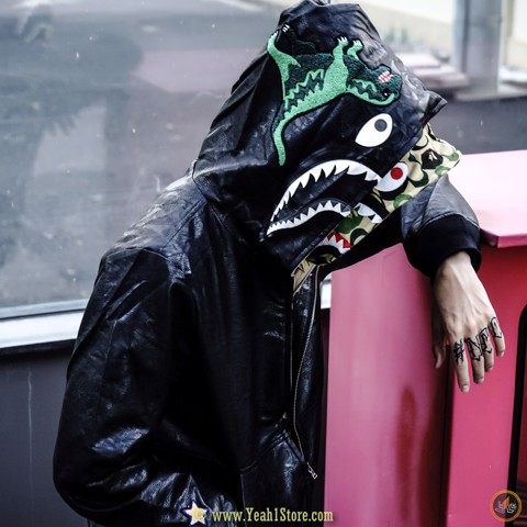 BAPE® X C.o.a.c.H LEATHER SHARK HOODIE JACKET MENS