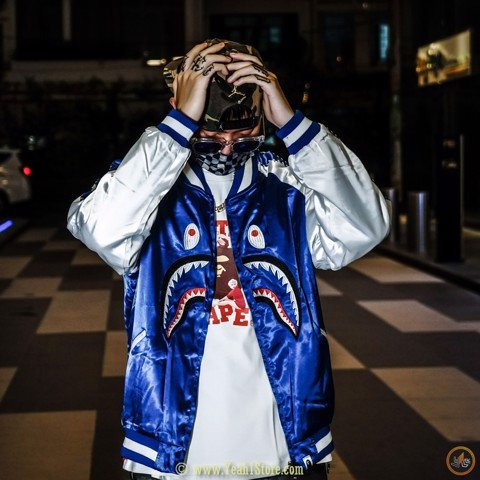 BAPE® WGM Shark Souvenir Blue Jacket