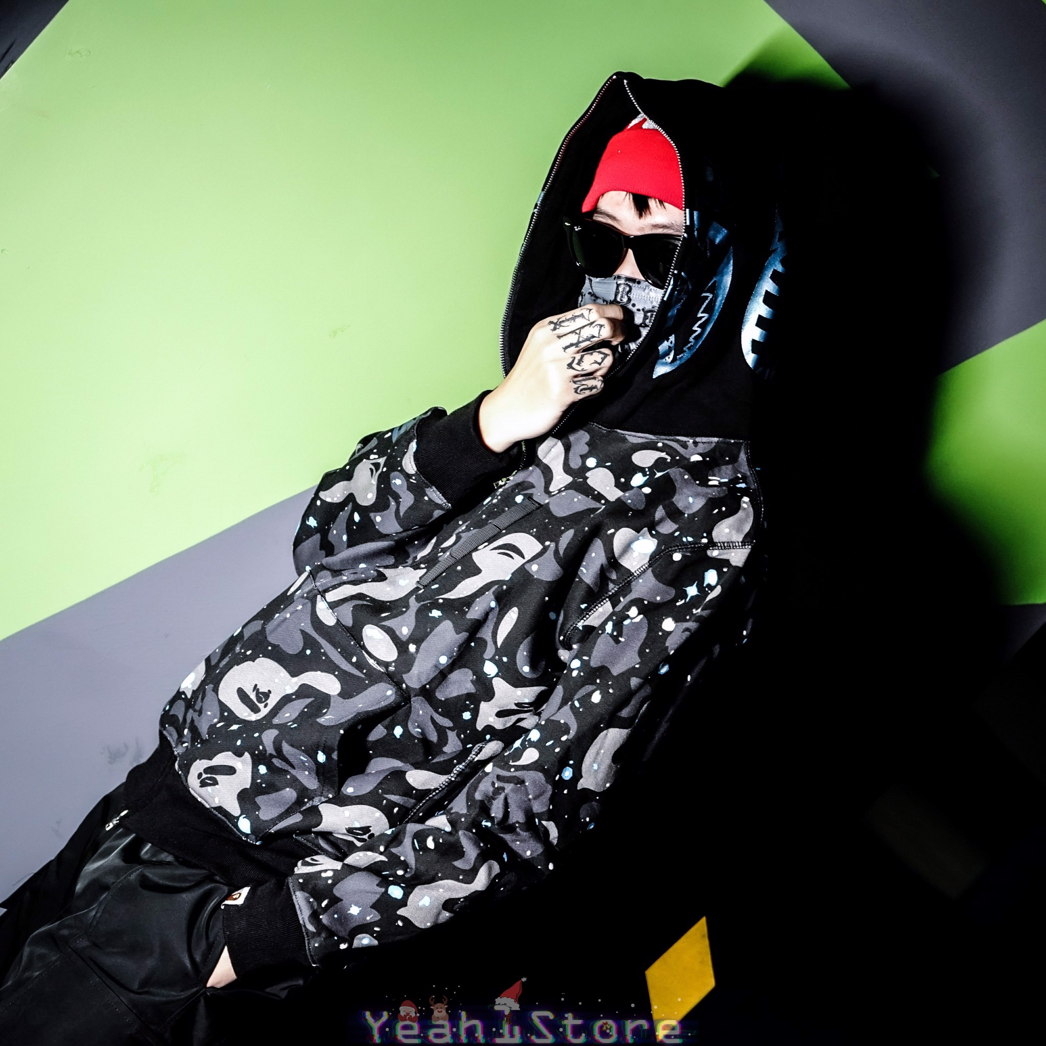 BAPE® Space Camo Shark Full Zip Hoodie Black