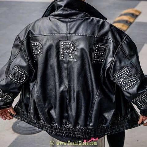SUPREME BOMBER LEATHER BLACK