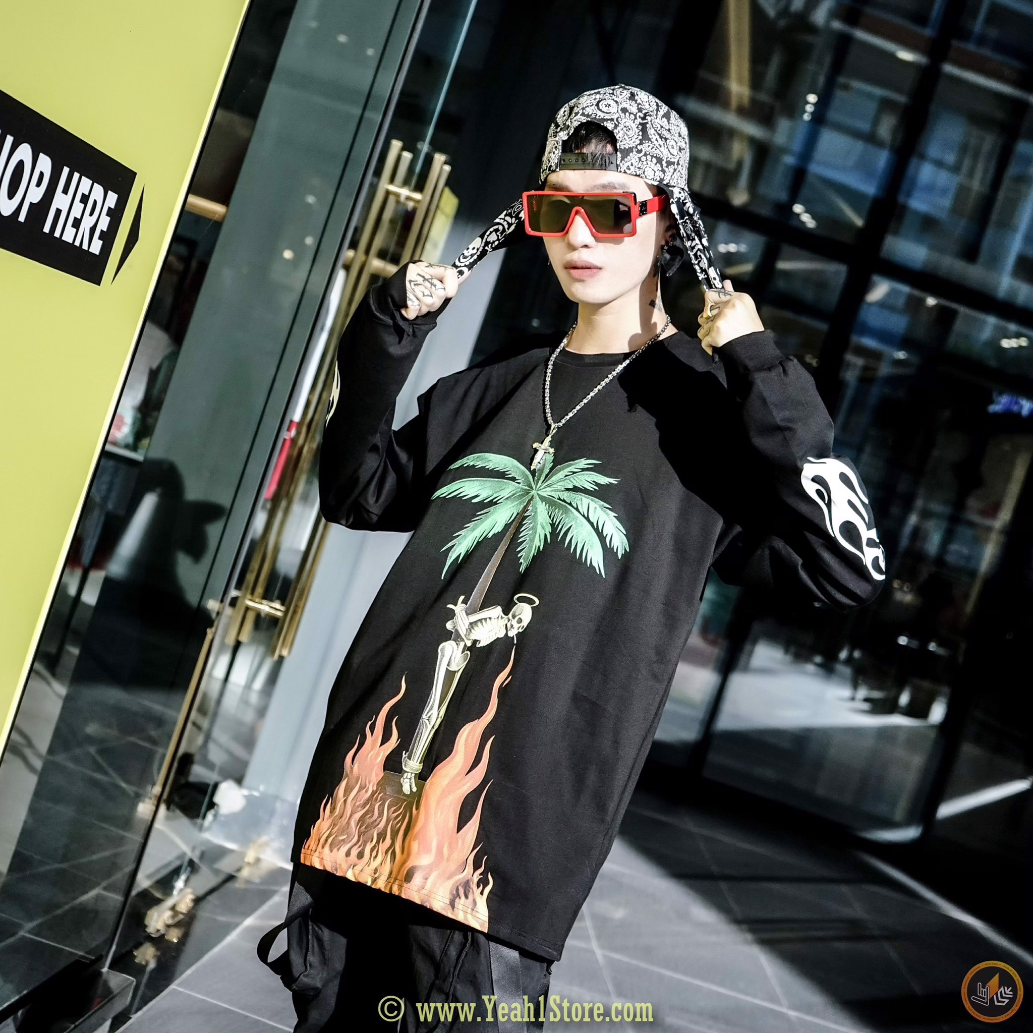 PALM ANGELS Angels Flame Coconut Tree Long Sleeve T-Shirt