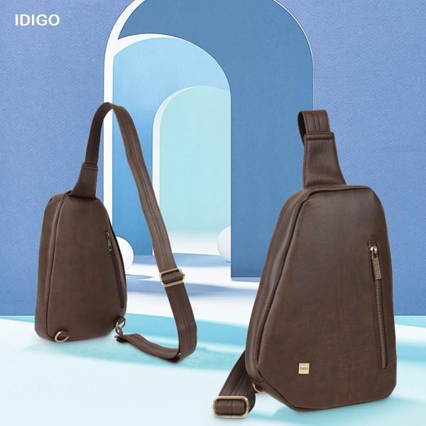 Túi đeo chéo trước ngực nam chi tiết khoá kéo IDIGO MB2-3364-00 hình ghép màu nâu đậm