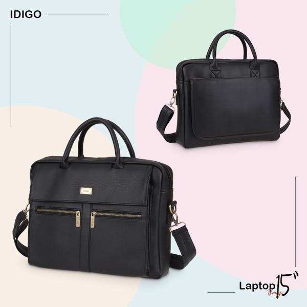 """Túi xách Laptop da nam nữ 15"""" ngăn kéo trước thanh lịch IDIGO MB2-6010-00 hình ghép màu đen"""