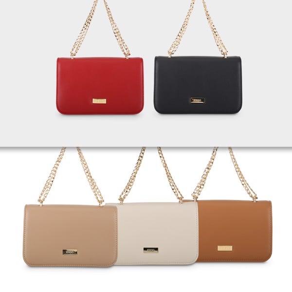 Túi đeo chéo nữ nắp gập phom hộp chữ nhật phối dây xích trẻ trung IDIGO FB2-385-00 set màu