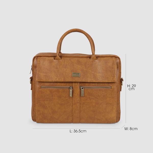 """Túi xách Laptop da nam nữ 15"""" ngăn kéo trước thanh lịch IDIGO MB2-6010-00 hình kích thước"""