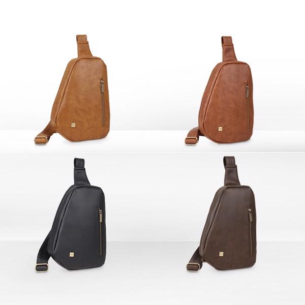 Túi đeo chéo trước ngực nam chi tiết khoá kéo IDIGO MB2-3364-00 hình set màu