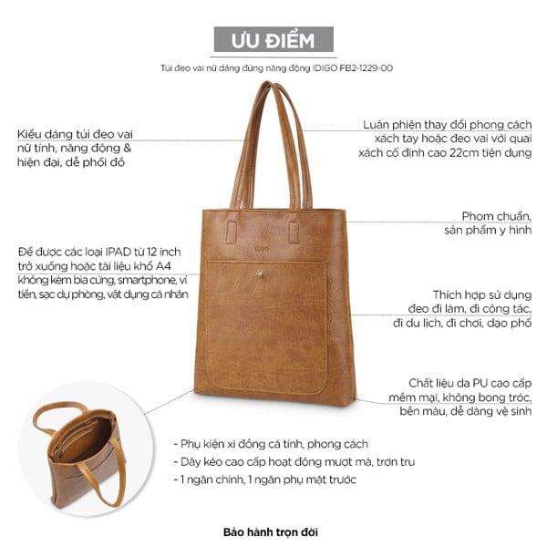 Túi đeo vai nữ dáng đứng năng động IDIGO FB2-1229-00 hình usp