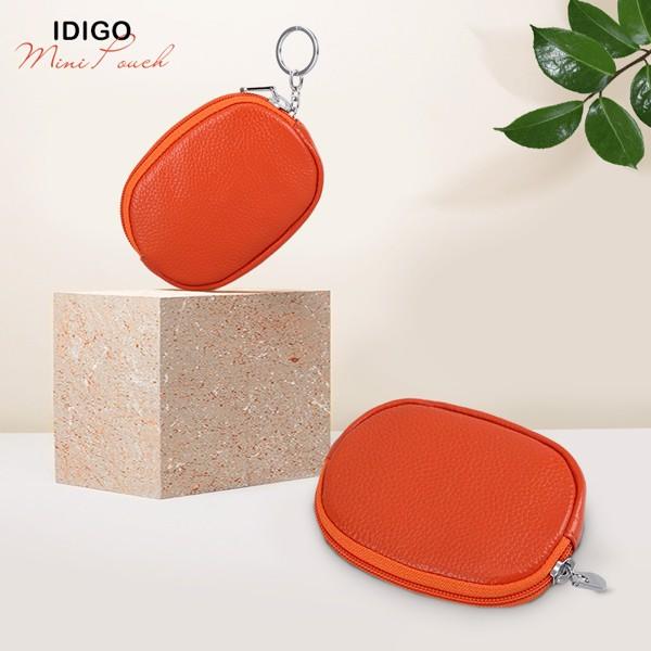 Ví móc khoá da bò oval IDIGO FW1-1003-00 hình ghép màu cam
