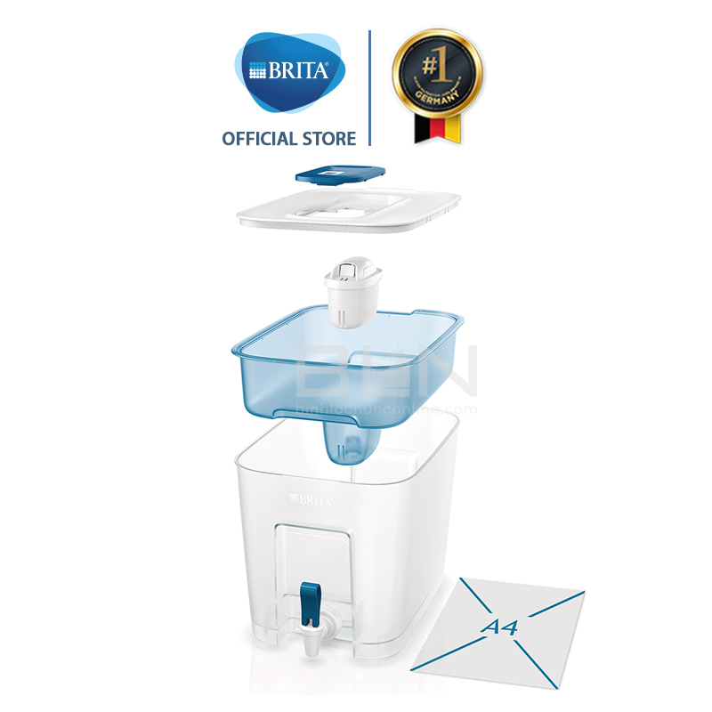 Bình lọc nước BRITA Flow Basic Blue 8.2L (có sẵn 1 lõi lọc Maxtra Plus) - Thương hiệu đến từ Đức