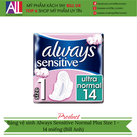 Băng vệ sinh Always Sensitive Normal Plus Size 1 - 14 miếng (Bill Anh)