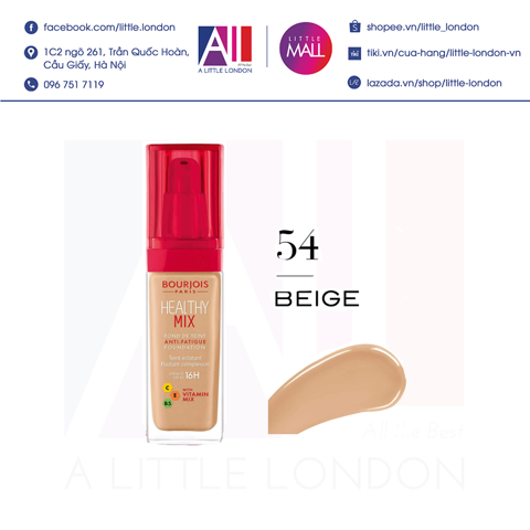 Kem nền Bourjois Healthy Mix Foundation - Màu 54 Beige (Bill Anh)